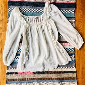 Vintage VS - White Ruffle Lace Boho Blouse
